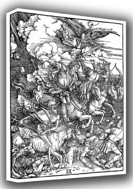 Durer, Albrecht: Four Horsemen and the Apocolypse. Biblical/Religious Fine Art Canvas. Sizes: A3/A2/A1 (00161)